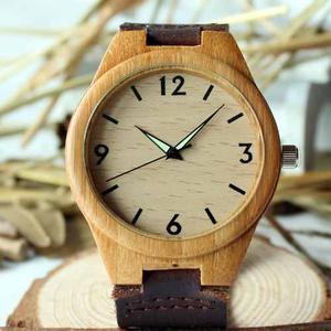 Reloj De Bambú Madera Casual Analógico Banda Tipo Cuero