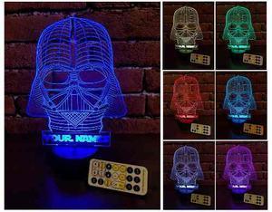 Lampara Led 3d Star Wars Personalizada Control Remoto Regalo
