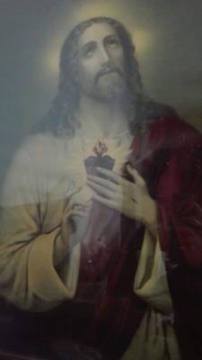 litografía antigua sagrado corazón de Jesús