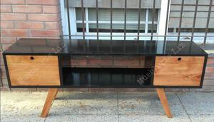 Mueble Para Tv Retro Vintage 150 Cm. Negro