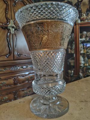 copa fabricada en cristal cortado y decorado de escenas