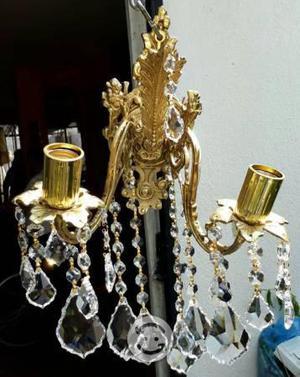 Candil arbotante de 2 luces de bronce