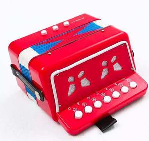 Juguete Acordeon Rojo Infantil 7 Botones Notas 2 Bajos