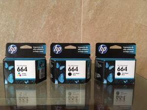 Pack De 3 Tintas Hp 664 Original 2 Negros+ 1 Color E. Gratis