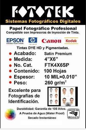 Papel Fotográfico Profesional 4x6 Satín Premium 100 Fotos