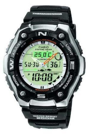Reloj Casio Aqw101 Termometro Pesca Fases Lunares Sumergible