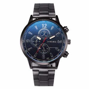 Reloj Vikec Blue Metalico Negro Estilo Moda Original Hombre