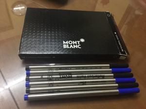 Paquete 6 Repuestos P Rollerball Mont Blanc 3 Azul 3 Negro