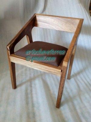 Silla noderna minimalista en madera de parota