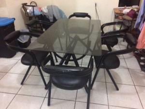Comedor 6 sillas mesa vidrio tubular