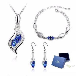 Hermoso Set Swarovski Collar Dije Aretes Pulsera Azul Fuerte