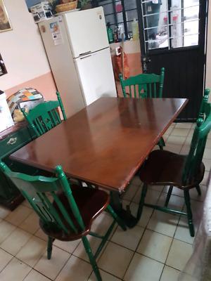 ante comedor de 4 sillas de madera solida incluye cubierta