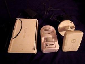 Camara de seguridad IP, detector de movimiento y router