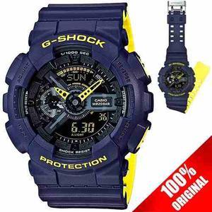 Reloj Casio G Shock Ga 110 Edición Bicolor Azul / Amarillo