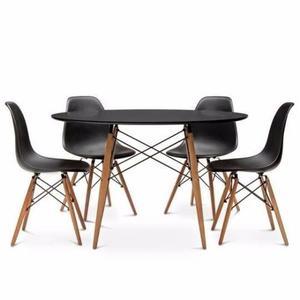Mesa Comedor Eames Negro 120cm + 4 Sillas Super Promo!!!