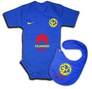 Ropa Para Bebe - Pañalero Y Babero De Futbol - America Azul