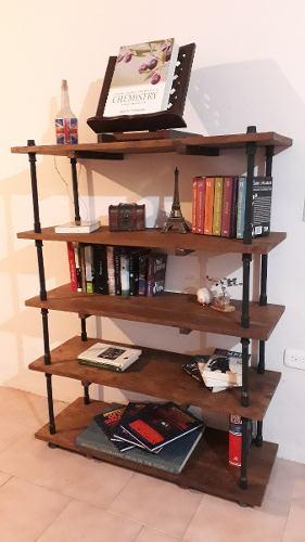 Librero biblioteca en madera posot class for Repisas estilo industrial