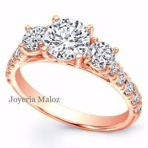 Anillo De Compromiso Oro Rosa 10kt Diamante Ruso