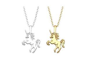 Collar Unicornio Color Oro Y Plata Novedad Mayoreo