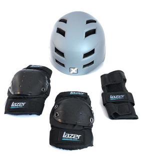 Protección Kit De Patinaje Casco,rodilleras,codera Y