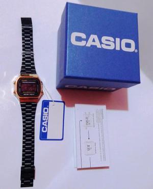 Reloj Casio A168 Dorado/negro Retro Vintage En Caja Nuevo