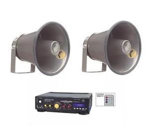 Kit Perifoneo Voceo Amplificador Usb + 2 Trompetas 800w