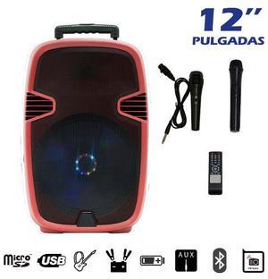 Bocina Amplificada 12 Pulgadas Recargable Bluetooth 2 Mic.
