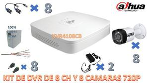 Kit Dahua Dvr 8ch+8 Camaras+tranceptores+fuente+conectores