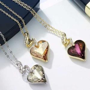 Dije Y Collar Corazón Cristal Swarovski Certificado Regalo