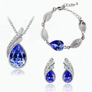 Set Collar Aretes Y Pulsera Swarovski Elem Oro18kgp Regalo