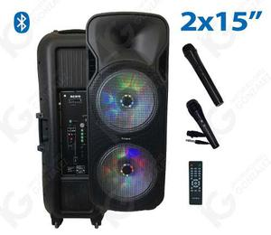 Bocina Doble 15 Amplificada Rino Ro Bluetooth Fm Usb