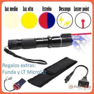 Lámpara Táctica Con Descarga Electroshock Toques Taser