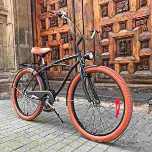 Bicicleta Vintage O Retro Cruiser R26 Negro Mate / Marrón