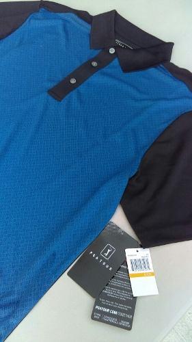 Playera Golf Pga Tour Hombre Azul Original Chica