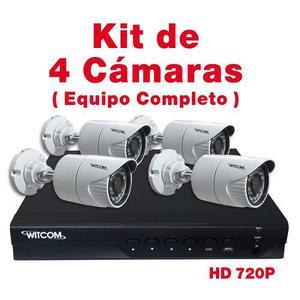 Kit 4 Cámaras Videovigilancia Cctv Hd 720p Disco Duro 6tb
