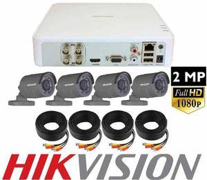 Kit Circuito Cerrado 4 Camaras Hikvision p 2 Mp Cctv