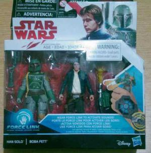 Star Wars 2 Pack Han Solo Y Boba Fett 9cms Force Link Nuevo