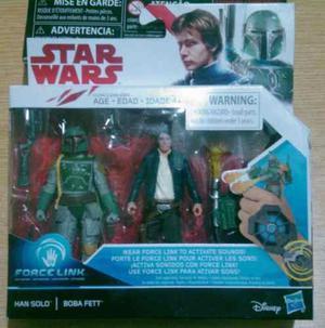 Star Wars 2 Pack Han Solo Y Boba Fett 9cms Force Link Nuevo
