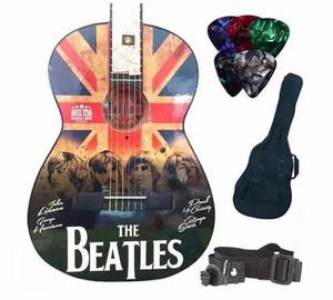Paquete Guitarra Selecta Acústica Con Cromos The Beatles