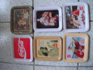 6 Charolas De Coca Cola Diferentes De 16.5cm X 19.5cm