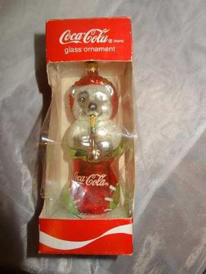 Coca Cola Ornamento Adorno Navideño Oso Vidrio