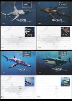 Mexico  Tiburones Set 4 Trajetas Con Timbres Impresos Pr