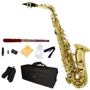 Saxofon Alto Mendini Lacado En Dorado Mi Bemol