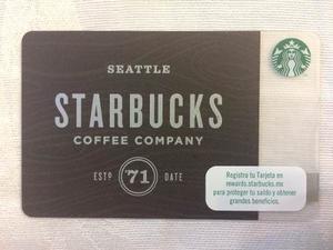 Tarjeta Starbucks Ed. Especial Seattle Est '71 De México