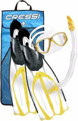 Cressi Pluma Kit Para Buceo: Visor, Snorkel, Aletas #