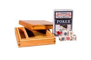 Caja De Madera Con 1 Baraja Y 5 Dados De Poker.