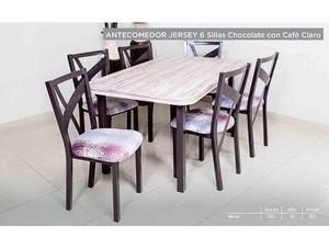 Comedor Modelo Jersey 6 Sillas - Cafe Claro
