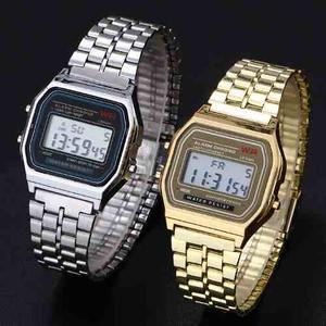 Lote 10 Relojes Mayoreo Metal Dorado Led Digital Hombre