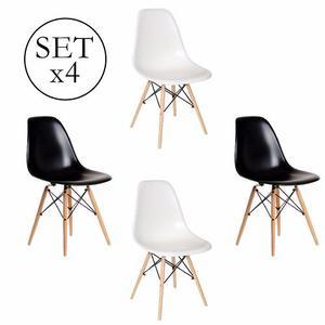 Set 4 Sillas Comedor Patas De Madera Diseño Eames Promo