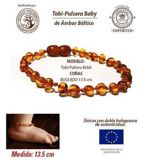 Tobi-pulseras Para Babé Ámbar Baltico Certificado 13.5cm